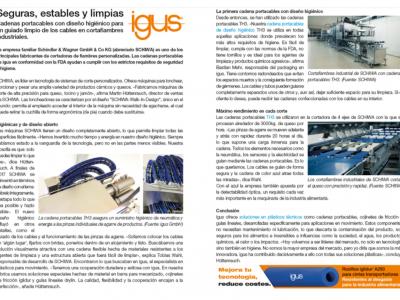 IGUS. Cadenas portacables con diseño higiénico para un guiado limpio de los cables en cortafiambres industriales.